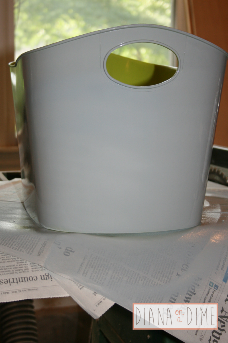 DIY Spray Paint Plastic Storage Container First Coat Diana on a Dime