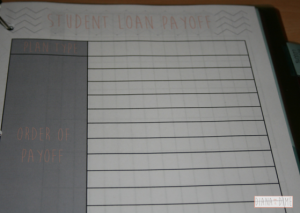 Student Loan Binder Plan